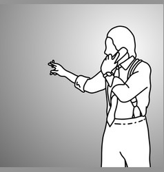 standing businessman wearing using retro telephone vector image
