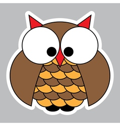 Sticker - colored cute owl with big squinting eyes vector