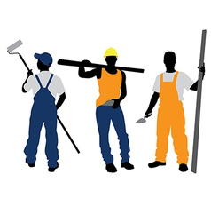 three workers silhouettes vector image vector image