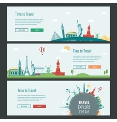 Travel and Tourism Headers Banners with famous vector image vector image