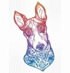 Vintage style bull terrier in flash art tattoos vector