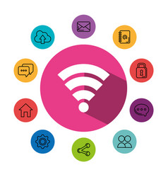 Wifi signal symbol with social media concept vector