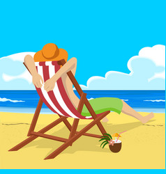 Young man sitting in deck chair on tropical beach vector