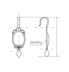 Jewelry production sketch of earrings isolated vector