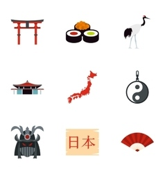 Tourism in japan icons set flat style vector