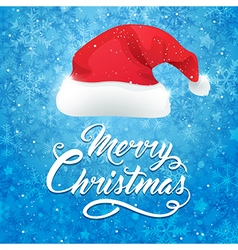 Blue christmas background with hat of santa claus vector