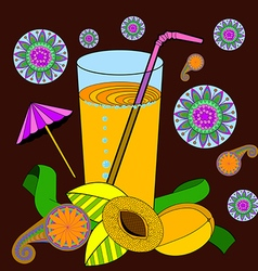 a glass of apricot juice and a straw apricots and vector image