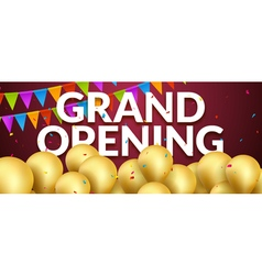 Grand opening event invitation banner with golden vector