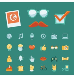 Set with trendy hipster icons and signs in retro s vector