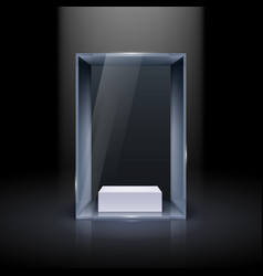 Glass showcase for presentation on black vector