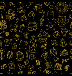 Honey apiary seamless pattern sketch for your vector