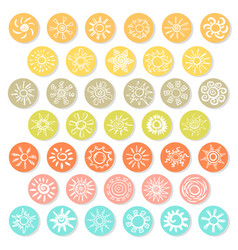 Doodle white suns icons set vector