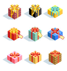 Set of different colored 3d giftboxes with ribbons vector