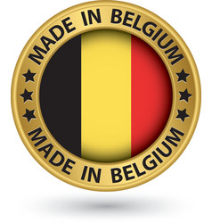 Made in belgium gold label vector