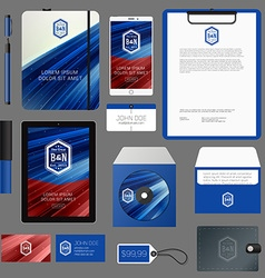 Blue corporate identity template design with vector