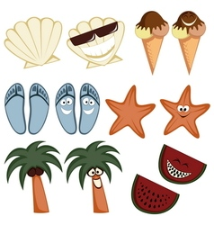 Classic summer icons vector