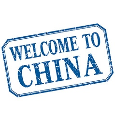 China - welcome blue vintage isolated label vector