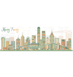 Abstract hong kong skyline with color buildings vector