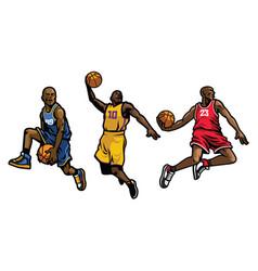basketball player set vector image vector image