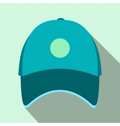 Blue baseball hat flat icon vector image vector image