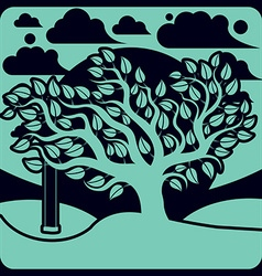 branchy tree with swing on beautiful cloudy spring vector image vector image