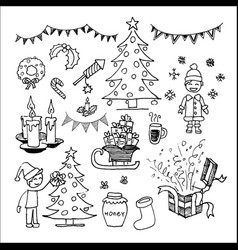 christmas icons and elements set vector image vector image