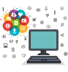 computer web and social media icons elements vector image