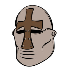 Crusader knight helmet icon cartoon vector