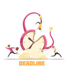 deadline disaster cartoon composition poster vector image vector image