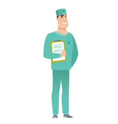 Doctor holding clipboard with papers vector