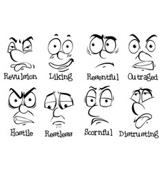 eight different expressions on human faces vector image vector image