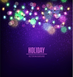 Festive background of luminous garlands of lights vector