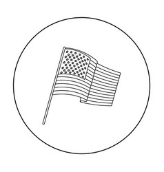 Flag of the united states icon in outline style vector