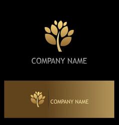 gold tree plant botany logo vector image