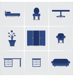 Icons furnniture vector