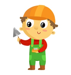 Kid builder cartoon character isolated on white vector image vector image