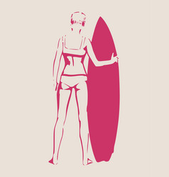lady posing with surfboard vector image vector image