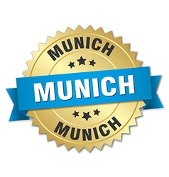 Munich round golden badge with blue ribbon vector