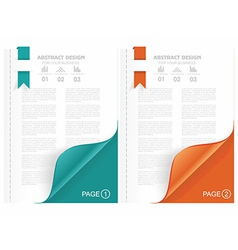 Open the blank magazine with color corner vector