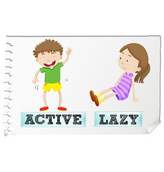 Opposite adjectives active and lazy vector