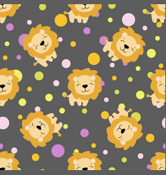 Pattern with cute african lion vector