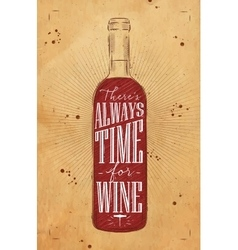 Poster time for wine kraft vector image vector image