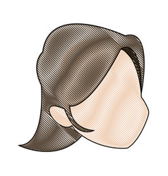 Profile woman head character caricature image vector