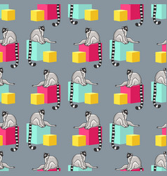 seamless pattern with cartoon lemurs an vector image