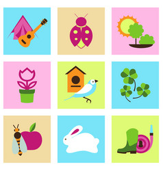 set collection icons of color springs vector image vector image