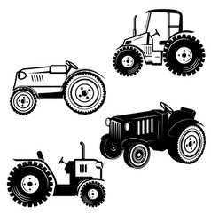 set of tractor icons isolated on white background vector image vector image