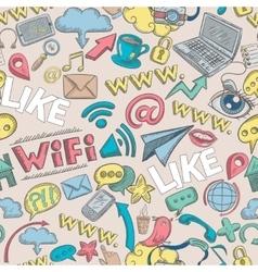 Social doodle seamless vector