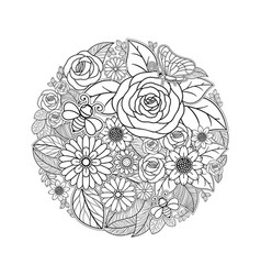 Tropical flower drawing black and white design vector