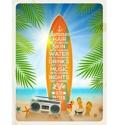 Vintage surfboard with summer saying and vector image