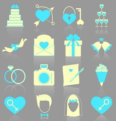 Wedding icons with reflect on gray background vector image